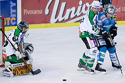 Matija Pintaric (HDD Tilia Olimpija, #28) during ice-hockey match between HDD Tilia Olimpija and EHC Liwest Black Wings Linz in 37th Round of EBEL league, on Januar 9, 2011 at Hala Tivoli, Ljubljana, Slovenia. (Photo By Matic Klansek Velej / Sportida.com)