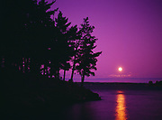 Moonrise over Kabetogama Lake, view from Woodenfrog, Voyageurs National Park, Minnesota.