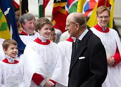 © Licensed to London News Pictures. 11/03/2013. London, UK. Prince Philip, the Duke of Edinburgh, is seen leaving Westminster Abbey after a Commonwealth Day Celebration in London today (11/03/2013). Photo credit: Matt Cetti-Roberts/LNP