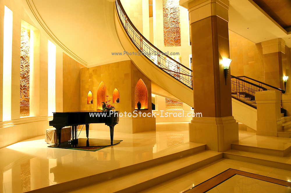 A piano in a grand hotel in Bangkok, Thailand