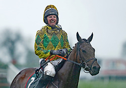 Jamie Codd and Festival D'ex after winning The Goffs Land Rover Bumper during day one of the Punchestown Festival at Punchestown Racecourse, County Kildare, Ireland.