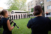 The Oregon Marching Band competes in Whitewater, Wisconsin on July 1, 2010.