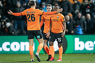 GOAL 2-1 Barnet forward Shaquile Coulthirst (10) scores and celebrates during The FA Cup fourth round match between Barnet and Brentford at The Hive Stadium, London, England on 28 January 2019.