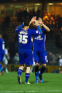 David Nugent (L) and Ritchie De Laet of Leicester City at the end of the Skybet Championship match, Yeovil Town v Leicester City at Huish Park Stadium in Yeovil on Tuesday 1st October 2013. Picture by Sophie Elbourn, Andrew Orchard Sports Photography,