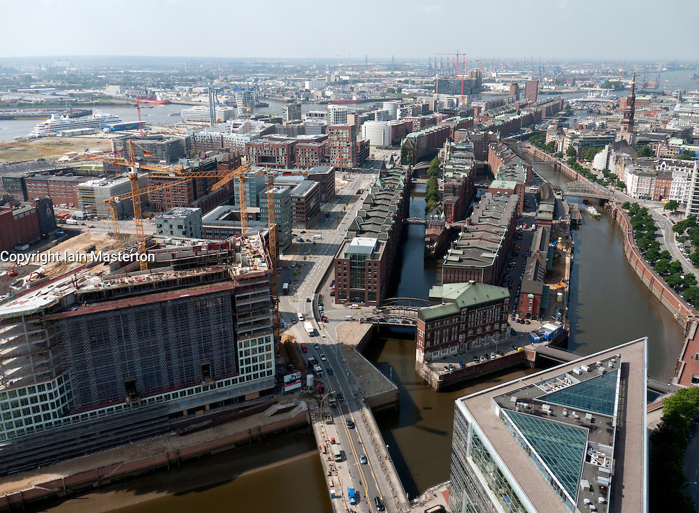 Cityscape of Hafencity new urban redevelopment with historic Speicherstadt in middle in Hamburg Germany