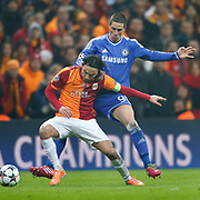 Galatasaray's Selcuk Inan (L) and Chelsea's Fernando Torres (R) during their UEFA Champions League Round of 16 First leg soccer match Galatasaray between Chelsea at the AliSamiYen Spor Kompleksi in Istanbul, Turkey on Wednesday 26 February 2014. Photo by Aykut AKICI/TURKPIX
