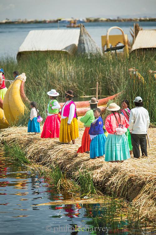 The Uru people on the Floating islands on Lake Titicaca, Puno, Peru, South America