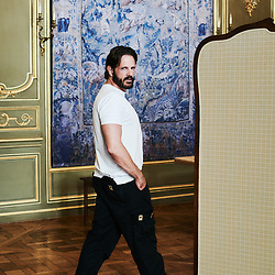Ronald Van Der Kemp, Fashion Designer, posing at the Hotel D'Avaray where his fashion show is to happen later that day. Paris, France. July 3, 2019.<br /> Ronald Van Der Kemp, designer de mode, prenant la pose a l'Hotel D'Avaray ou son defile aura lieu plus tard dans la journee. Paris, France. 3 juillet 2019.