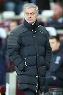 Jose Mourinho, the Manchester United manager looking on from the dugout . Premier league match, West Ham Utd v Manchester Utd at the London Stadium, Queen Elizabeth Olympic Park in London on Monday 2nd January 2017.<br /> pic by John Patrick Fletcher, Andrew Orchard sports photography.
