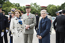 French Army Chief of Staff General Francois Lecointre, French Junior Minister for Defence Genevieve Darrieussecq, French Defence Minister Florence Parly attend a ceremony commemorating General Charles De Gaulle's June 1940 appeal for French resistance against Nazi Germany, at the Mont Valerien National Memorial in Suresnes on the outskirts of Paris on June 18, 2018. Photo by Eliot Blondet/ABACAPRESS.COM