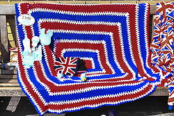 April 14, 2018 - London, England, United Kingdom - Royal fans are pictured outside St. Mary Hospital's Lindo Wing as they gather and wait for the birth of the third child of the Duke and Duchess of Cambridge, London on April 14, 2018. (Credit Image: © Alberto Pezzali/NurPhoto via ZUMA Press)