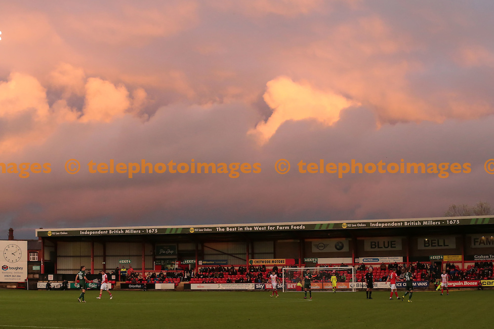 Stormy clouds over Crewe during the Sky Bet League 2 match between Crewe Alexandra and Plymouth Argyle at Alexandra Stadium in Crewe. November 12, 2016.<br /> Nigel Pitts-Drake / Telephoto Images<br /> +44 7967 642437