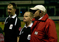 Photo: Daniel Hambury.<br />Luton Town v Cardiff City. Coca Cola Championship. 14/02/2006.<br />Referee Andy Woolmer (centre) at the end of the game is guarded by a steward after a controversial finish.