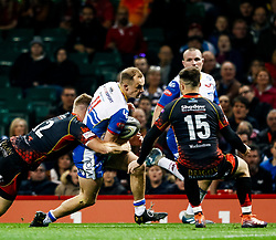Ioan Nicholas of Scarlets scores his sides first try<br /> <br /> Photographer Simon King/Replay Images<br /> <br /> Guinness PRO14 Round 21 - Dragons v Scarlets - Saturday 27th April 2019 - Principality Stadium - Cardiff<br /> <br /> World Copyright © Replay Images . All rights reserved. info@replayimages.co.uk - http://replayimages.co.uk