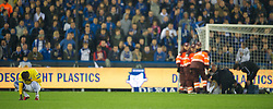 20.10.2011, Jan-Breydel Stadion, Bruegge, BEL, UEFA EL, Gruppe H, FC Bruegge (BEL) vs Birmingham City (ENG), im Bild  Birmingham City's Guirane N'daw is visably shaken after seeing team-mate Pablo Ibanez knocked unconscious during the UEFA Europa League Group H match against Club Brugge at the Jan Breydelstadion.  // during UEFA Europa League group H match between FC Bruegge (BEL) vs Birmingham City (ENG), at Jan-Breydel Stadium, Brugge, Belgium on 20/10/2011. EXPA Pictures © 2011, PhotoCredit: EXPA/ Propaganda Photo/ David Rawcliff +++++ ATTENTION - OUT OF ENGLAND/GBR+++++