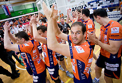 Nicholas Cundy of ACH celebrates at last final volleyball match of 1.DOL Radenska Classic between OK ACH Volley and Salonit Anhovo, on April 21, 2009, in Arena SGS Radovljica, Slovenia. ACH Volley won the match 3:0 and became Slovenian Champion. (Photo by Vid Ponikvar / Sportida)