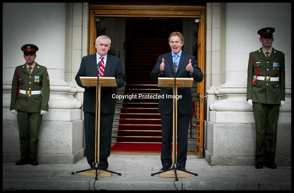 THe British Prime Minister Tony Blair and The Irish Prime Minister Bertie Ahern give a press conference at the Government Buildings,Dublin,Today Sunday 2nd May 2004.PA Photo Andrew Parsons