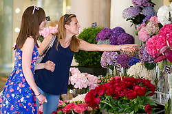 Two women choosing flowers at a stall