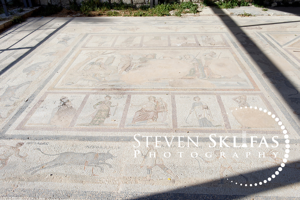 Kos Town. The Judgment of Paris Ancient Roman mosaic in the Western Archaeological Zone. Kos is part of the Dodecanese island group and birthplace of the ancient physician and father of medicine, Hippocrates.