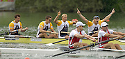 2005 FISA World Cup, Rotsee, Lucerne, SWITZERLAND, 10.07.2005 Right Andy Twiggs Hodge and Alex Partridge raise their arms in celebration, after winning the final of the men's four. The Crew also win the yellow points jerey after winning all three rounds of the 2005 FISA World Cup Regatta GBR held on Lake Rotsee. [full crew left to right Stve Williams, Peter Reed, Alex partridge and Andy Twiggs Hodge] © Peter Spurrier.  email images@intersport-images..[Mandatory Credit Peter Spurrier/ Intersport Images] Rowing Course, Lake Rottsee, Lucerne, SWITZERLAND.