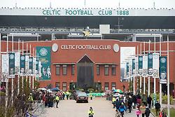 The funeral cortege arrives at Celtic Park. The funeral of former footballer Tommy Gemmell with the cortege at Celtic Park.