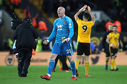 Wolverhampton Wanderers goalkeeper John Ruddy celebrates after the final whistle during the FA Cup quarter final match at Molineux, Wolverhampton.