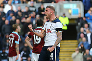 Toby Alderweireld of Tottenham Hotspur celebrates after his team score the 1st goal. Premier League match, Burnley v Tottenham Hotspur at Turf Moor in Burnley , Lancs on Saturday 1st April 2017.<br /> pic by Chris Stading, Andrew Orchard sports photography.<br /> contact and payments to Andrew Orchard, 2 Old Vicarage close, Pengam, Blackwood, Gwent. NP12 3TU. Tel 07974 069129.  vat reg no 615 9784 04,  <br /> no unpaid use, All usage chargeable.