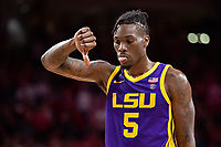 FAYETTEVILLE, AR - MARCH 4:  Emmitt Williams #5 of the LSU Tigers shows his feelings at the end of the game during a game against the Arkansas Razorbacks at Bud Walton Arena on March 4, 2020 in Fayetteville, Arkansas.  The Razorbacks defeated the Tigers 99-90.  (Photo by Wesley Hitt/Getty Images) *** Local Caption *** Emmitt Williams
