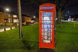 © Licensed to London News Pictures. 08/02/2019. Bristol, UK. Window Wanderland in BS9. A lamp in a phone box on Shirehampton Road to commemorate that the Sea Mills estate is 100 years old this year, part of the weekend of window art in Bristol. Window Wonderland was started in 2015 and aims to bring people together by helping them to put on community events, build relationships, strengthen neighbourhoods, create pride and spread friendship, positivity, happiness and goodwill. Photo credit: Simon Chapman/LNP