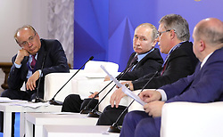 April 26, 2018 - Saint Petersburg, Russia - April 26, 2018. - Russia, Saint Petersburg. - Russian President Vladimir Putin at the plenary meeting of the 11th Convention of the Rector Union hosted by the Peter the Great St. Petersburg Polytechnical University. Left: Rector of the Lomonosov Moscow State University Viktor Sadovnichy. (Credit Image: © Russian Look via ZUMA Wire)