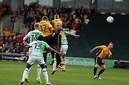 Joss Labadie of Newport county (4) celebrates with teammate Ben Tozer heads and scores his teams 2nd goal. EFL Skybet football league two match, Newport county v Yeovil Town at Rodney Parade in Newport, South Wales on Saturday 7th October 2017.<br /> pic by Andrew Orchard,  Andrew Orchard sports photography.