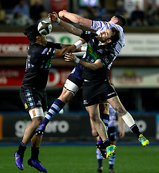 Ruaridh Jackson of Glasgow Warriors goes for the high ball<br /> <br /> Photographer Simon King/Replay Images<br /> <br /> Guinness PRO14 Round 15 - Cardiff Blues v Glasgow Warriors - Saturday 16th February 2019 - Cardiff Arms Park - Cardiff<br /> <br /> World Copyright © Replay Images . All rights reserved. info@replayimages.co.uk - http://replayimages.co.uk