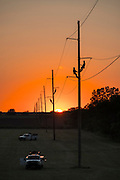 Western Farmers Electric lineman working on transmission lines near Goldsby, Oklahoma