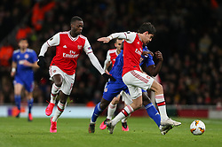 Hector Bellerin of Arsenal tackles Mady Camara of Olympiacos - Mandatory by-line: Arron Gent/JMP - 27/02/2020 - FOOTBALL - Emirates Stadium - London, England - Arsenal v Olympiacos - UEFA Europa League Round of 32 second leg