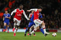 Hector Bellerin of Arsenal tackles Mady Camara of Olympiacos - Mandatory by-line: Arron Gent/JMP - 27/02/2020 - FOOTBALL - Emirates Stadium - London, England - Arsenal v Olympiacos - UEFA Europa League Round of 32 second leg