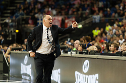© Licensed to London News Pictures. 10/05/2013. London, UK.  Head Coach of Real Madrid, Pablo Laso, getting frustrated during the game in which his team play and beat FC Barcelona in Semi-Final B of the Euroleague Basketball Final Four at The O2 Arena.   Real Madrid will go on to play in the final on Sunday.  The Turkish Airlines Euroleague, commonly known as the Euroleague, is the highest level tier and most important professional club basketball competition in Europe, with teams from up to 18 different countries, members of FIBA Europe. Photo credit : Richard Isaac/LNP