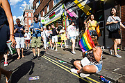 Pride in London on Old Compton Street on the 7th July 2018 in central London in the United Kingdom. 30,000 marched through central London for the city's annual LGBT Pride celebration.