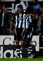 Photo: Jed Wee/Sportsbeat Images.<br /> Newcastle United v Arsenal. The FA Barclays Premiership. 05/12/2007.<br /> <br /> Newcastle's Obafemi Martins (R) celebrates with Steven Taylor.