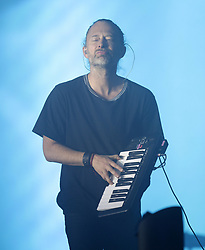 Thom Yorke of Radiohead performing on the Pyramid Stage, at the Glastonbury Festival at Worthy Farm in Pilton, Somerset.