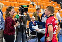 ROTTERDAM  - NK Zaalhockey,   wedstrijd om brons.  heren Oranje Rood- Kampong. OR wint. Chloe Goossens (hockey.nl) interviewt Max Kuijpers (Oranje-Rood)     COPYRIGHT KOEN SUYK