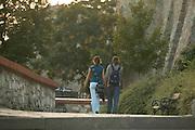 Europe, Slovakia, capitol city - Bratislava.castle steps and entry ramp..
