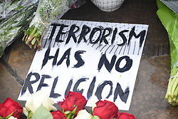 June 6, 2017 - London, England, United Kingdom - A placard have been left at London Bridge. A large amount of flowers, messages and placards have been left in the area, following the London Bridge and Borough Market's terror attacks in which 7 people has died and 48 were injured. (Credit Image: © Alberto Pezzali/NurPhoto via ZUMA Press)