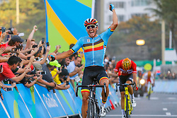 Greg van Avermaet of Belgium celebrates winning the gold medal in the Men's Road Race on Day 1 of the Rio 2016 Olympic Games at the Fort Copacabana on August 6, 2016 in Rio de Janeiro, Brazil. Photo by Giuliano Bevilacqua/ABACAPRESS.COM
