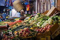 MARRAKESH, MOROCCO - CIRCA APRIL 2017: Vegetable stand shop at the Rue Bab Doukkala in Marrakesh. This is a local area close to the Medina.