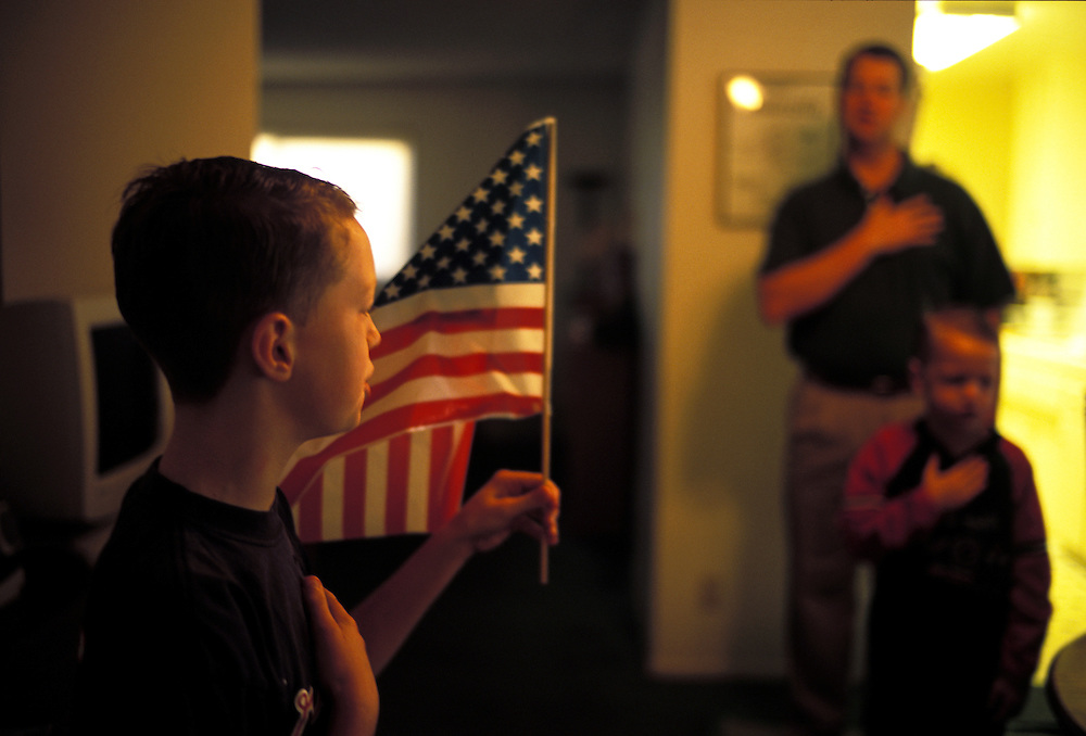 The school day at Mission Prep, the official name the Smith's gave their home school, begins with Trevor leading the family in the Pledge of Allegiance.