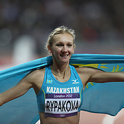 Olga Rypakove, Kazakhstan, winning the Gold Medal in the Women's Triple Jump at the Olympic Stadium, Olympic Park, Stratford at the London 2012 Olympic games. London, UK. 5th August 2012. Photo Tim Clayton