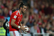 Gareth Bale of Wales prepares to take a throw-in.  Wales v Austria , FIFA World Cup qualifier , European group D match at the Cardiff city Stadium in Cardiff , South Wales on Saturday 2nd September 2017. pic by Andrew Orchard, Andrew Orchard sports photography