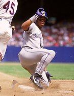 CLEVELAND - 1990:  Ken Griffey Jr. of the Seattle Mariners bats during an MLB game against the Cleveland Indians at Municipal Stadium in Cleveland, Ohio during the 1990 season. (Photo by Ron Vesely)  Subject:  Ken Griffey Jr.