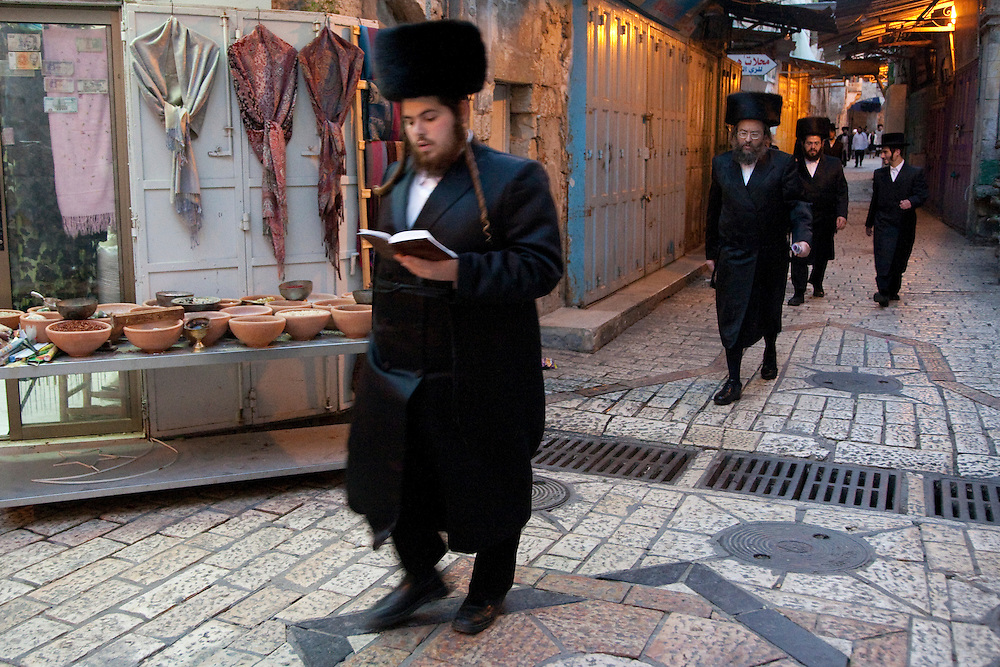 Middle East, Israel, Jerusalem, Hasidic Jewish men walking to synagogue
