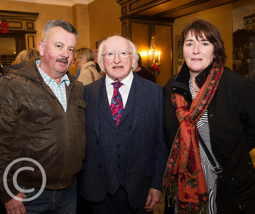 President Michael D Higgins who unveiled the Galway City Council's  newly commissioned bronze replica   of poet Padraic O'Conaire statue which has been place in Eyre Sq. Galway. Stone mason Ray Flaherty and Angela O'Boyle met with The President at a civic reception at Hotel Meyrick Photo:Andrew Downes